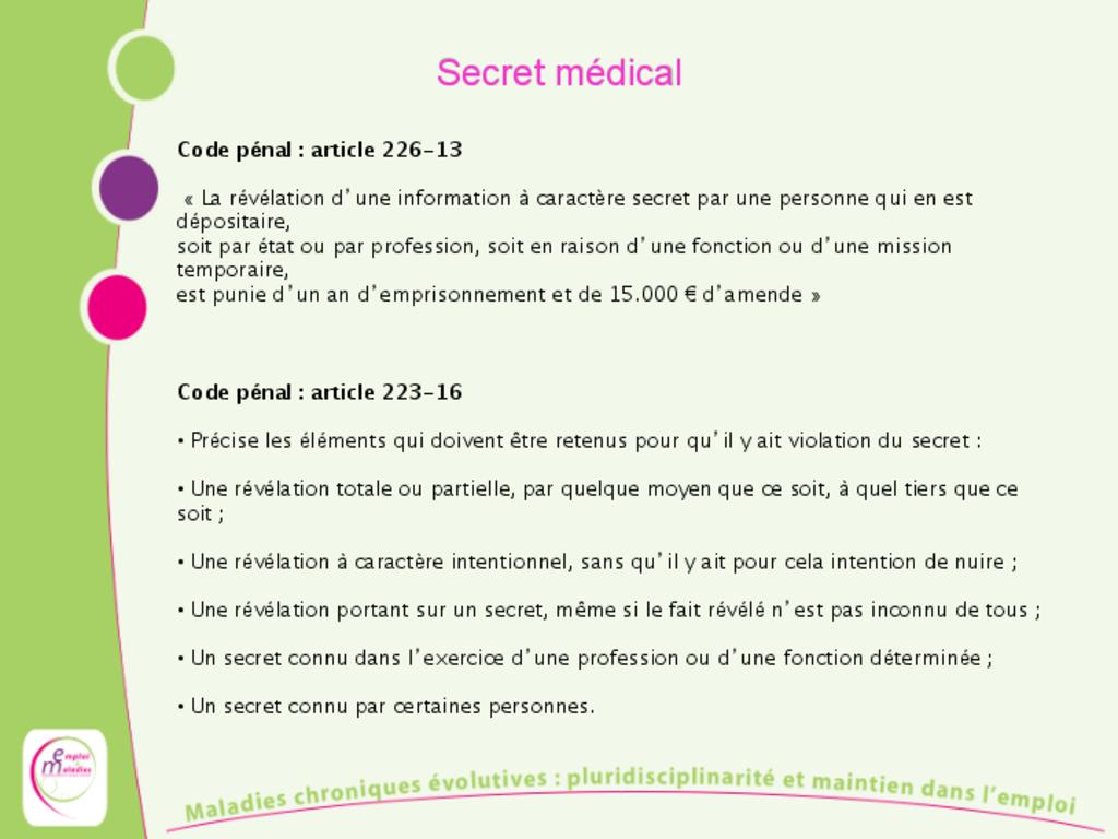 Le secret médical