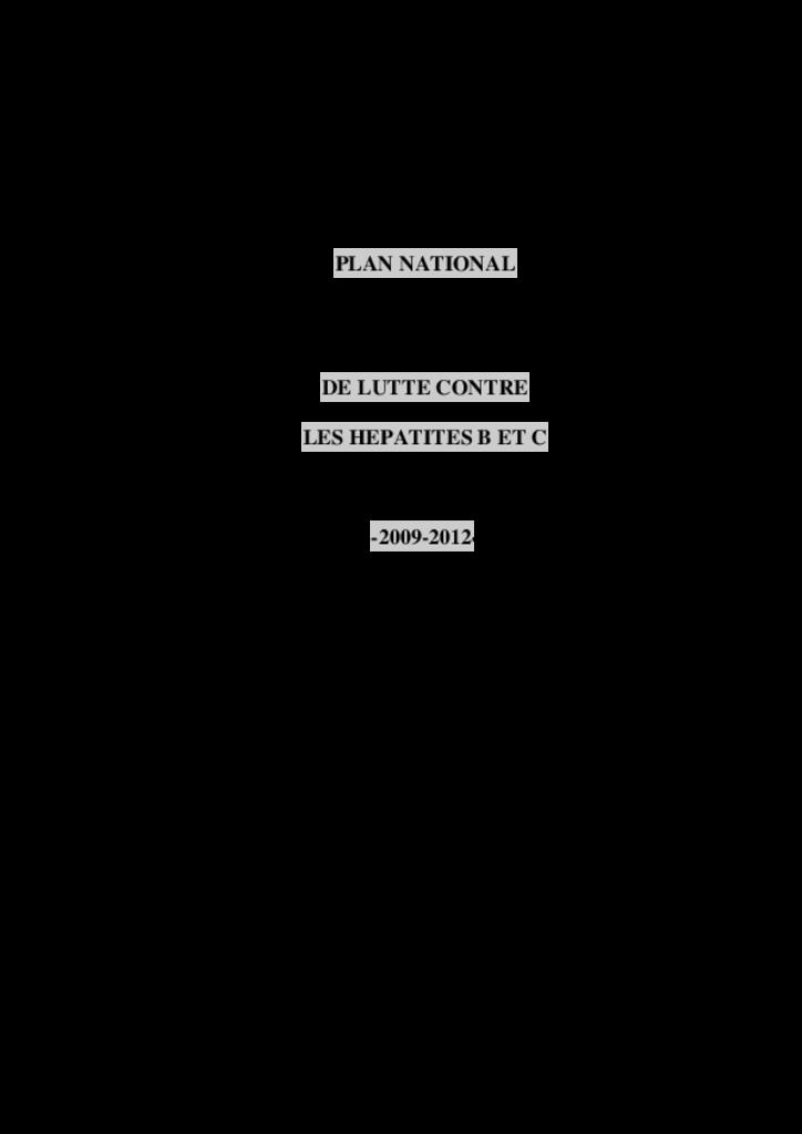 Plan national de lutte contre les hépatites B et C. DGS, février 2009